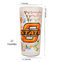 Load image into Gallery viewer, Oklahoma state university frosted drinking glass cowboys pokes go collegiate osu