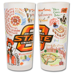 Oklahoma state university frosted drinking glass cowboys pokes go collegiate osu