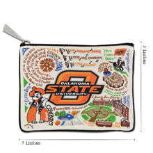 Load image into Gallery viewer, Oklahoma State University OSU Cowboys Zipper pouch dimensions