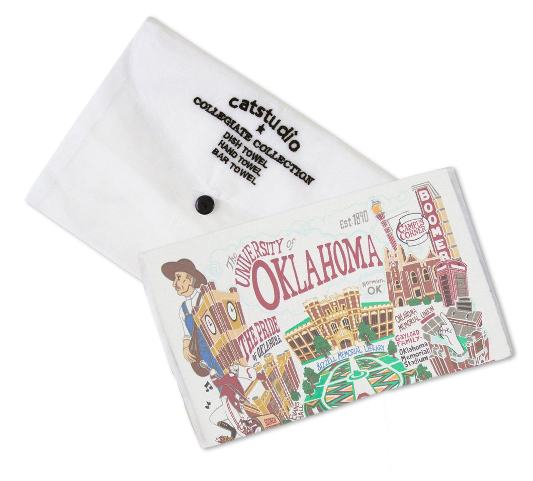 University of Oklahoma dish towel OU hand printed hand embroidered hand loomed handmade cotton kitchen fan boomer sooner catstudio gift