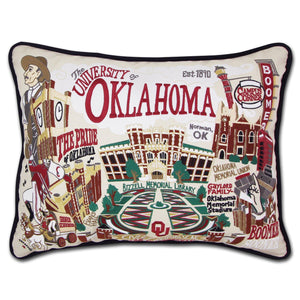 University of Oklahoma pillow hand embroidered OU house gift