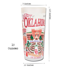 Load image into Gallery viewer, Oklahoma University OU frosted drinking glass dishwasher safe 12 ounces boomer sooner norman fans gift