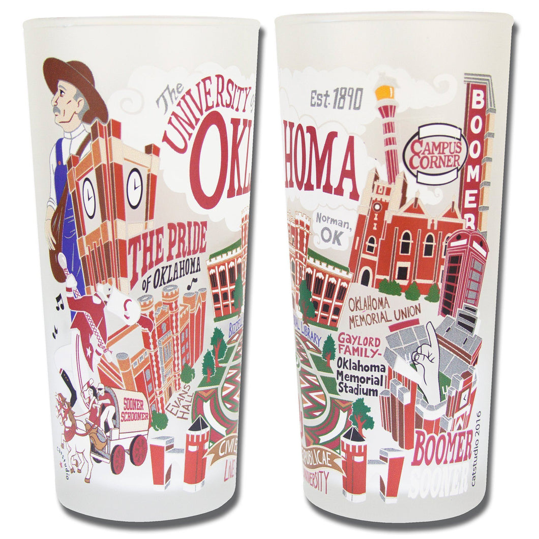Oklahoma University OU frosted drinking glass dishwasher safe 12 ounces boomer sooner norman fans gift