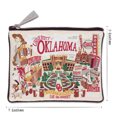 Load image into Gallery viewer, Oklahoma of University OU Sooners Zipper pouch dimensions
