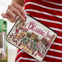 Load image into Gallery viewer, Oklahoma of University OU Sooners Zipper pouch lifestyle shot