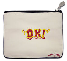 Load image into Gallery viewer, Oklahoma Zipper pouch bag travel embroidered design for Okies natural