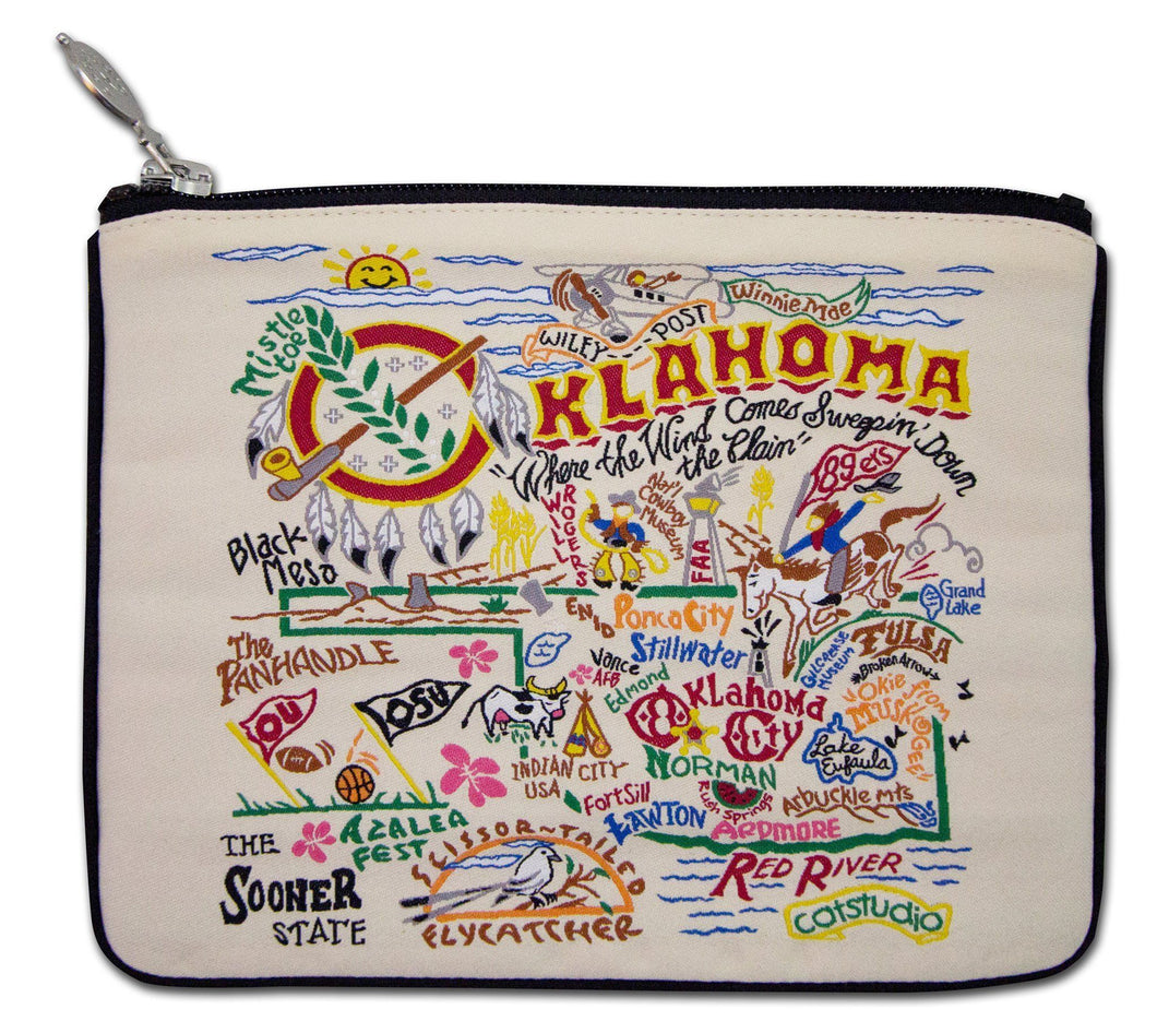 Oklahoma Zipper pouch bag travel embroidered design for Okies natural