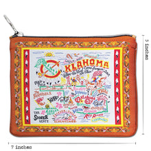 Load image into Gallery viewer, Oklahoma Zipper pouch bag travel embroidered design for Okies brown scissortail pattern dimensions