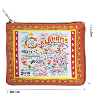 Oklahoma Zipper pouch bag travel embroidered design for Okies brown scissortail pattern dimensions