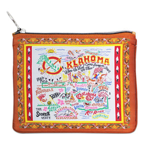 Oklahoma Zipper pouch bag travel embroidered design for Okies brown scissortail pattern