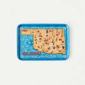 Oklahoma melamine tray gift serving food or drinks blue and yellow map of the state vintage style travel love your state platter serving tray