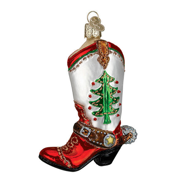 Old world christmas ornaments cowboy boot red white green tree glitter spur western riding glass holiday