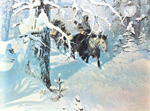 Out of the Silence John Clymer print winter snow woods Native American horseback horses travel quiet art