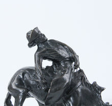 Load image into Gallery viewer, The Outlaw bronze sculpture replica statue by Frederic Remington cowboy on a bucking horse saddle breaking detail face