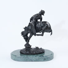 Load image into Gallery viewer, The Outlaw bronze sculpture replica statue by Frederic Remington cowboy on a bucking horse saddle breaking back