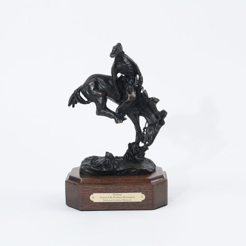 The Outlaw sculpture replica bronze statue mini by Frederic Remington cowboy saddle breaking horse