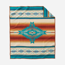 Load image into Gallery viewer, pendleton woolen mills pagosa springs blanket rob turquoise healing health peace wool warm usa made reversible back