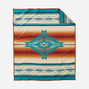 pendleton woolen mills pagosa springs blanket rob turquoise healing health peace wool warm usa made reversible back