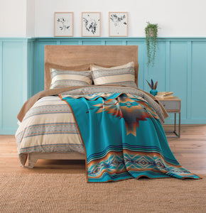 pendleton woolen mills pagosa springs blanket rob turquoise healing health peace wool warm usa made reversible bedding