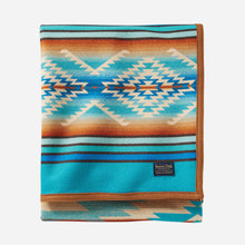 Load image into Gallery viewer, pendleton woolen mills pagosa springs blanket rob turquoise healing health peace wool warm usa made reversible folded