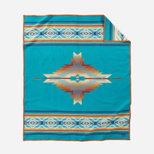 Load image into Gallery viewer, pendleton woolen mills pagosa springs blanket rob turquoise healing health peace wool warm usa made reversible front