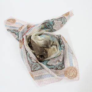 Annie Oakley scarf cotton Italian Victorian colors pastel square female sharpshooter folded