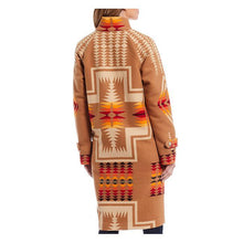 Load image into Gallery viewer, Pendleton woolen mills 1930s archive coat jacquard harding tan wool heavy winter jacket long women red orange yellow tribal print