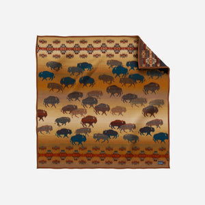 prairie rush hour throw blanket twin sized brown and blue buffalo bison for the home brown front side