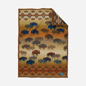 Prairie rush hour crib blanket Pendleton Woolen Mills american made wool bison buffalo children kids earth tones brown side