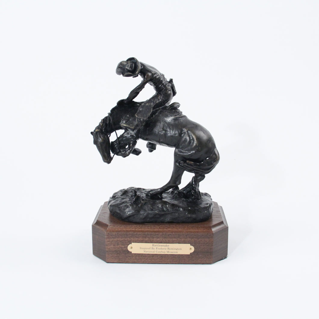 The Rattlesnake bronze sculpture replica statue by Frederic Remington cowboy on horseback snake scared