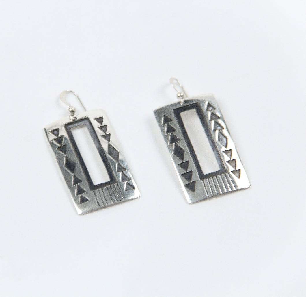Teller Indian Jewelry rectangle earrings sterling silver navajo made geometric shapes