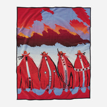 Load image into Gallery viewer, Rodeo Sisters robe red sunset Susana Santos legacy design blanket collection collector's items women horseback back
