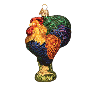 heirloom rooster ornament gift glass old world christmas tree glitter class chicken