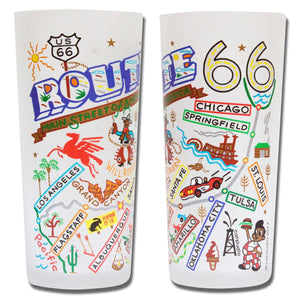 Route 66 frosted drinking glass CatStudio travel road trip gift housewarming highway 15 ounce cup