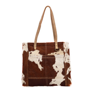 Caramel Front Pocket Hair-On Tote Bag