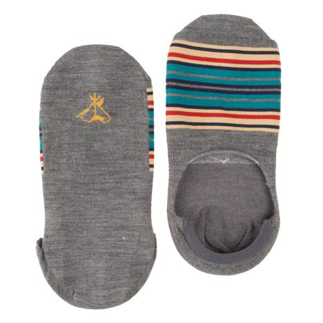 Pendleton woolen mills moc socks serape stripe gray no show liner merino wool men women unisex