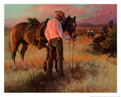 Tom Ryan's painting Sharing an Apple cowboy and horse at sunset print art western