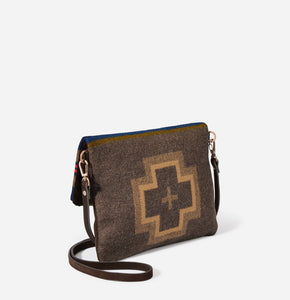 Pendleton woolen mills shelter bay foldover clutch crossbody bag purse wool olive green brown leather travel back