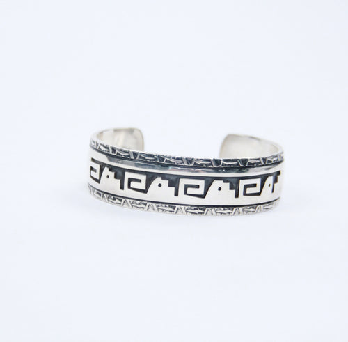 Staircase of life and whirl wind stamped silver cuff Teller indian jewelry bracelet