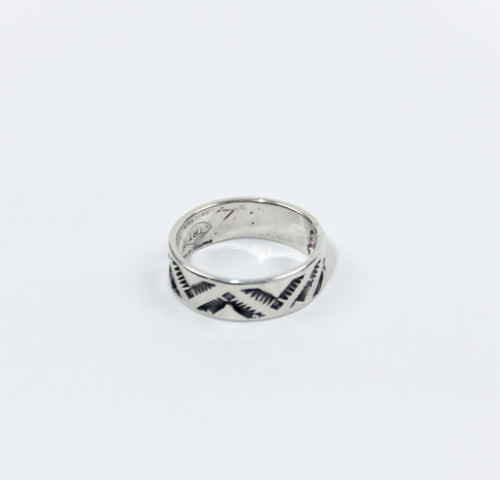 silver ring geometric tribal pattern stamped Teller Indian Jewelry