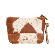 Load image into Gallery viewer, snowy & cocoa hairon pouch bag myra handbag purse cowhide brown and white leather zipper for makeup or travel
