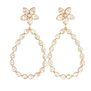Stacy crystal chandelier earrings Christina greene bridal jewelry gold plated brass dangle