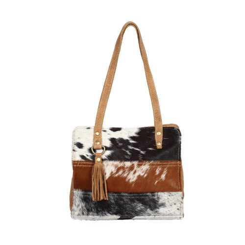 myra handbags purse stria stripes of hairon different colors patched together purse western women brown black and white with tassel leather