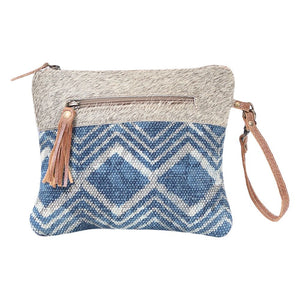 myra handbag bag purse pouch teal blue chevron wrist strap hairon canvas rug pattern two zippers western accessory for women