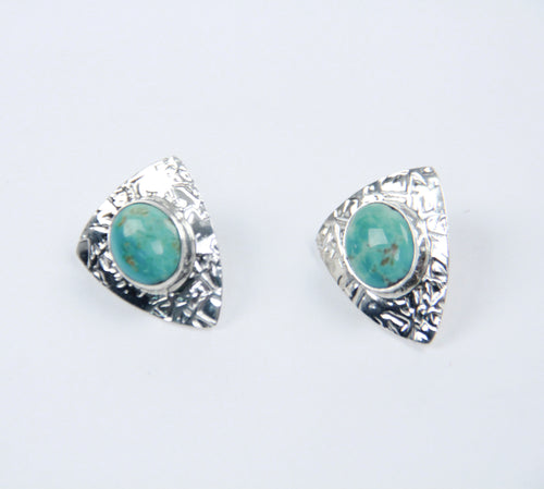 stud earrings teller indian jewelry turquoise stone sterling silver arrowhead shape