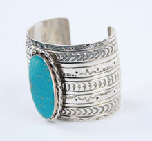 Load image into Gallery viewer, oval stone turquoise cuff bracelet teller indian jewelry sterling silver symbols stamped wide