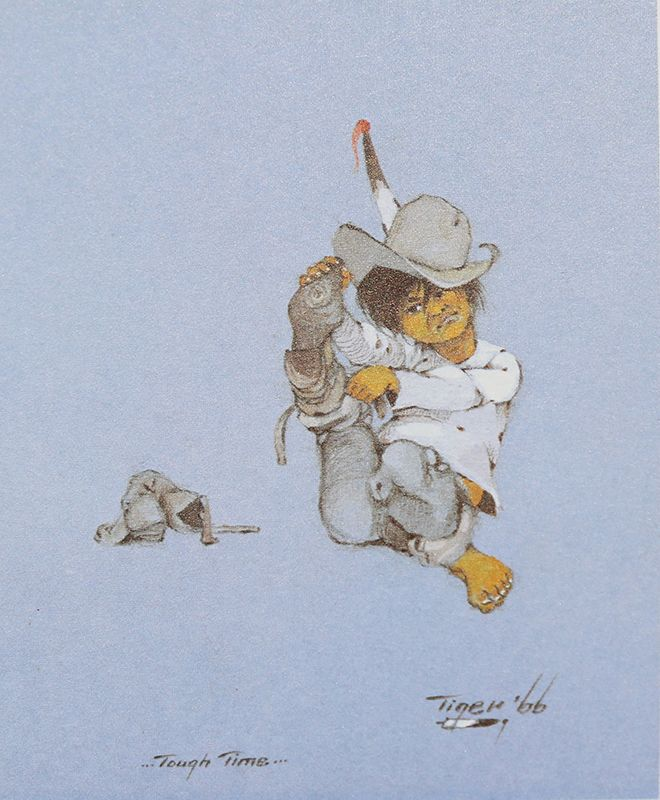 Tough time by jerome tiger creek-seminole native american artist little indian boy putting on boots hard time print artwork replica