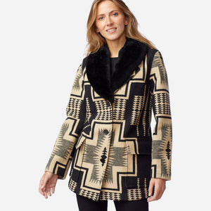 Pendleton Women's Wahkeena Shearling Coat, Black/Tan Harding