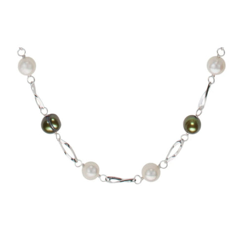 Freshwater Endless Pearl Necklace, White & Green