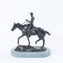 Load image into Gallery viewer, Will rogers sculpture statue replica bronze by Charles Russell soapsuds horseback riding green marble base back